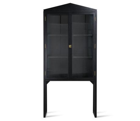 HK-living Cabinet en bois de verre noir à crête 80x36x160cm