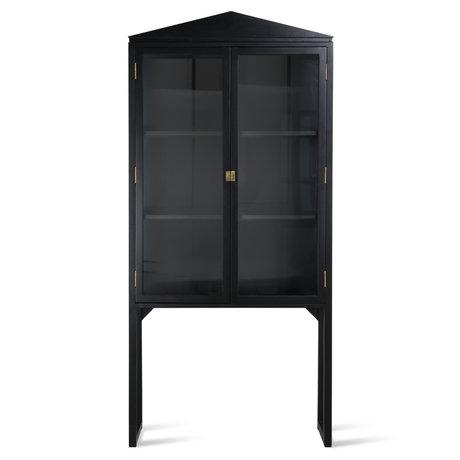 HK-living Kabinetkast Crested zwart glas hout 80x36x160cm
