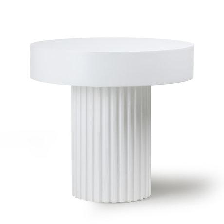 HK-living Table basse Pilier rond blanc bois Ø49x46cm