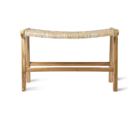 HK-living Lounge bench Abaca natural brown teak wood 65x40x41.5cm