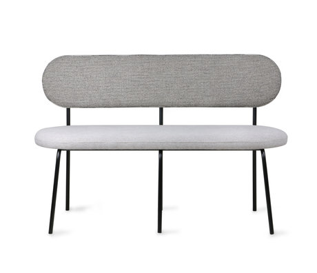 HK-living Bank Dining grijs textiel metaal 126x54x83cm