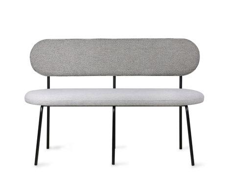 HK-living Sofa Dining gray textile metal 126x54x83cm