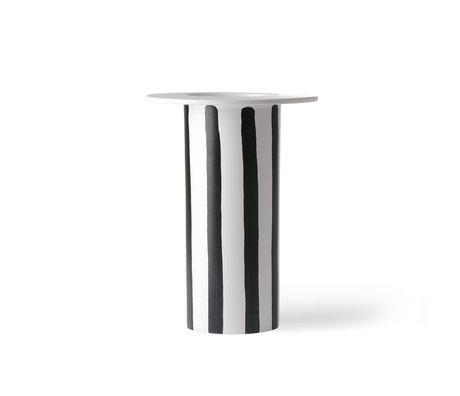HK-living Vase Gestreifte schwarz-weiße Keramik 18,5x18,5x25cm
