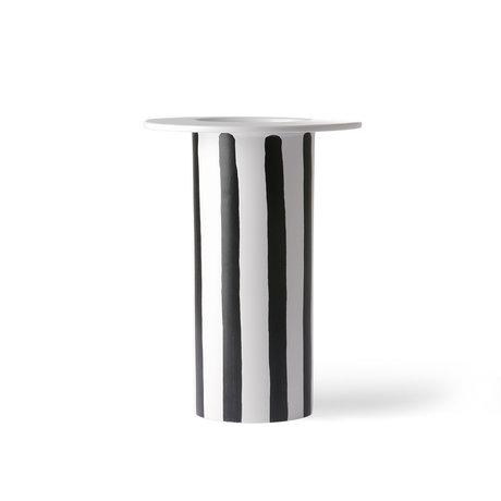 HK-living Vase à rayures en céramique noire et blanche 18.5x18.5x25cm
