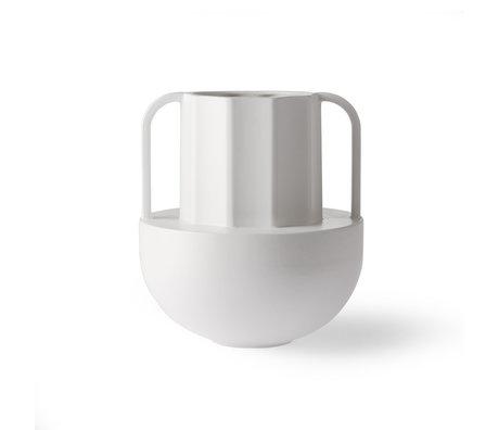 HK-living Vase grec D en céramique blanche 22,5x22,5x24,5 cm