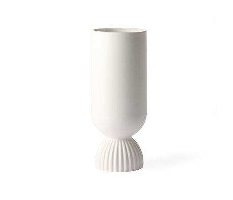 HK-living Vase Ribbed white ceramic Ø11x25cm