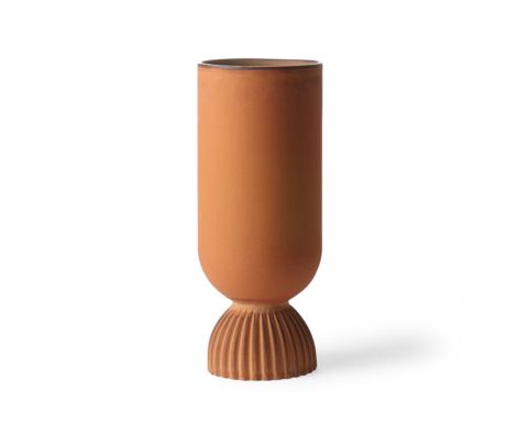HK-living Vase Gerippte rostorange Keramik Ø11x25cm