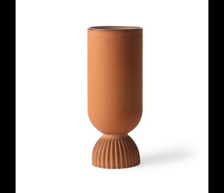 HK-living Vase Ribbed rust orange ceramic Ø11x25cm