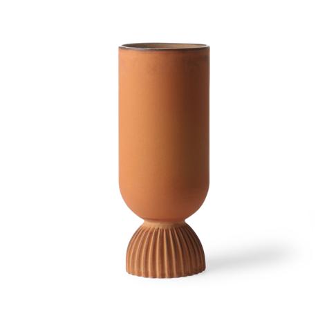 HK-living Vaas Ribbed roest oranje keramiek Ø11x25cm