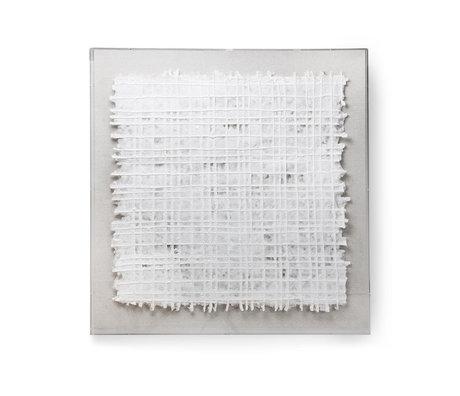 HK-living Cadre d'art Papier textile blanc 90x90x5cm