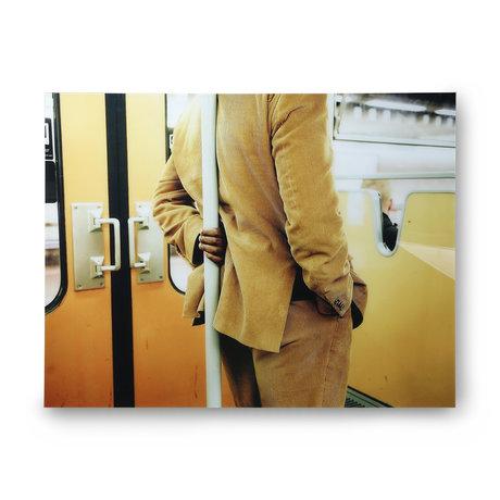 HK-living Schilderij Man standing in tram geel plexiglas 105x80cm