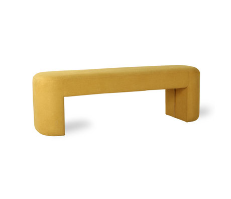 HK-living Sofa Lobby textile ocre jaune 120x40x45cm