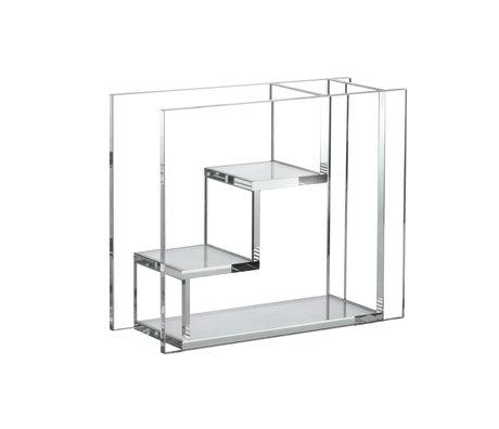 HK-living Vaas Stairs transparant glas 25x10x21cm