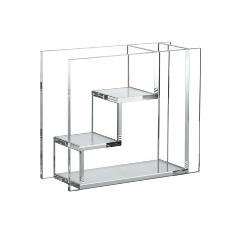 HK-living Vase Escalier Verre Transparent 25x10x21cm