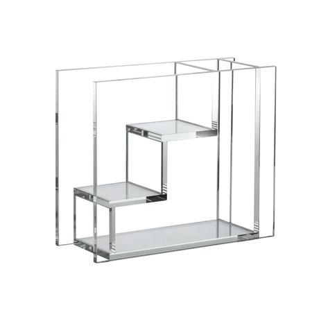 HK-living Vase Escaliers en verre transparent 25x10x21cm