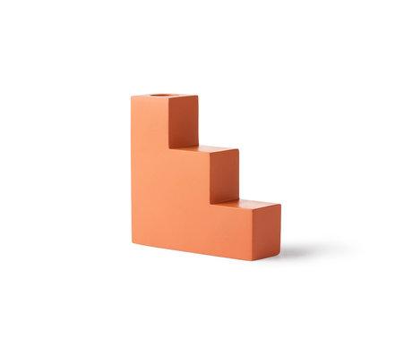 HK-living Kerzenständertreppe orange Beton 12x4x12cm
