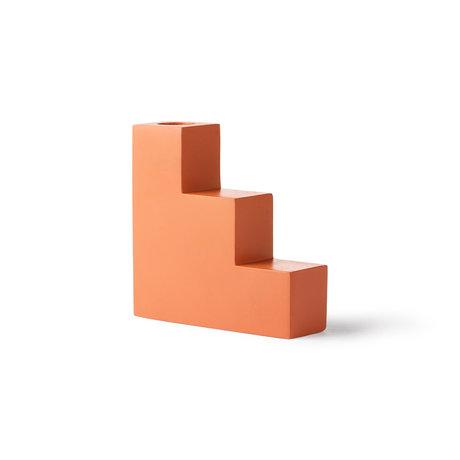 HK-living Bougeoir escalier orange béton 12x4x12cm
