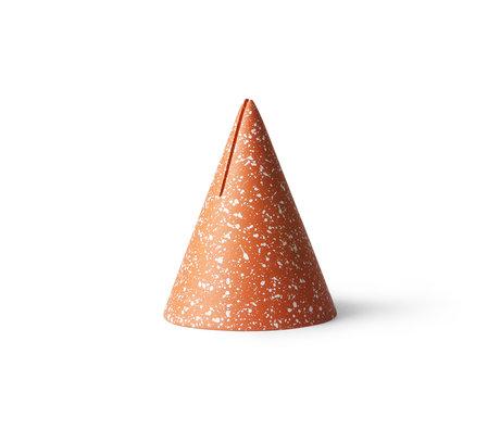 HK-living Terrazzo Cone card stand orange concrete Ø9.5x13cm