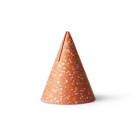 HK-living Support de cartes Terrazzo Cone orange béton Ø9.5x13cm