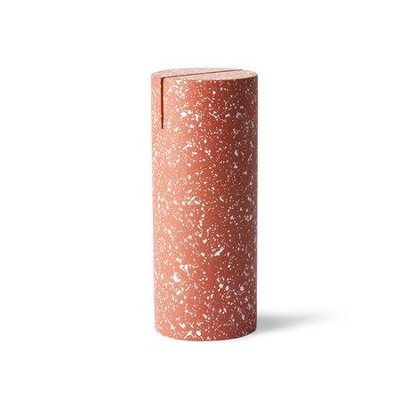 HK-living Support à cartes Terrazzo cylindre rouge béton Ø6x15cm