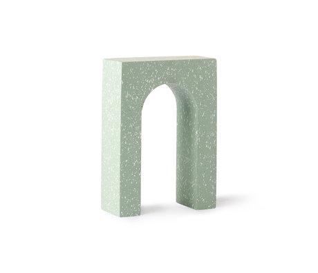 HK-living Terrazzo Arch Ornament Mintgrün Beton 14x6x20cm