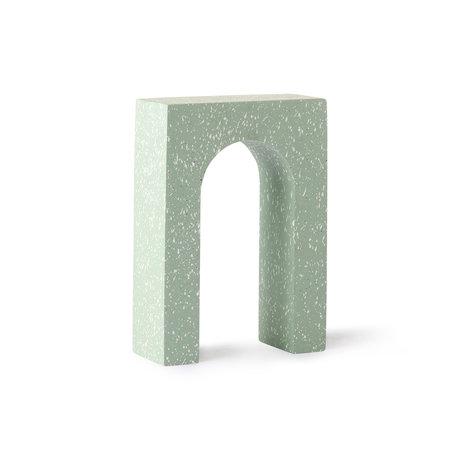 HK-living Terrazzo Arch ornament mint green concrete 14x6x20cm