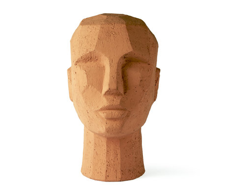 HK-living Ornament Abstract Head orange terracotta 18x15x25cm