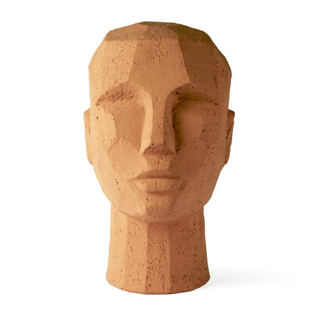 HK-living Ornament Abstract Head oranje terracotta 18x15x25cm