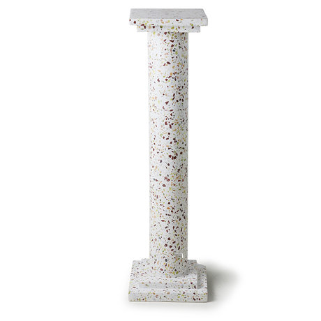 HK-living Ornament Greek Column Terrazzo white concrete 24x24x85cm