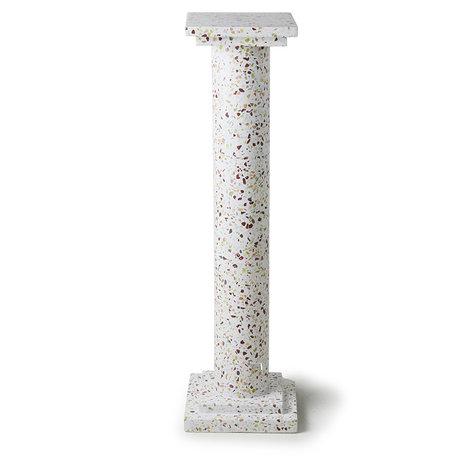 HK-living Ornament Griechische Säule Terrazzo weißer Beton 24x24x85cm