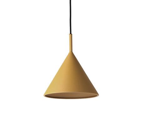 HK-living Lampe à suspension Triangle M ocre jaune mat 22x22x25cm