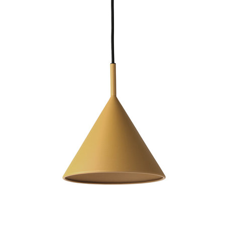 HK-living Hanglamp Triangle M mat oker geel metaal 22x22x25cm