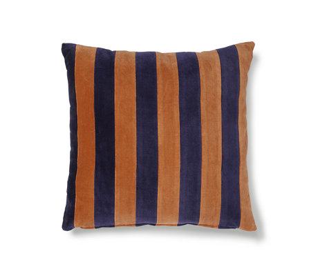 HK-living Kissen gestreift orange blau Baumwollsamt 50x50cm