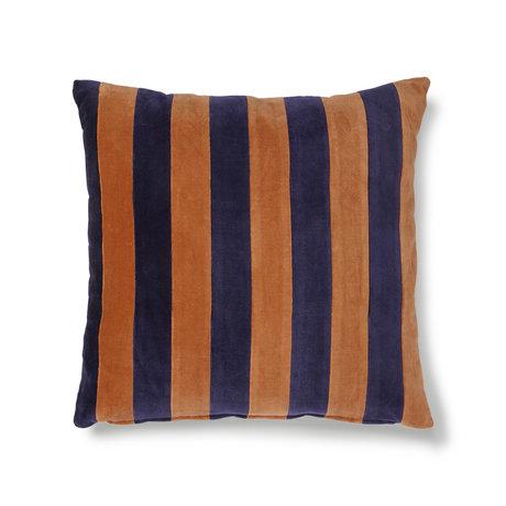 HK-living Coussin velours de coton orange bleu rayé 50x50cm
