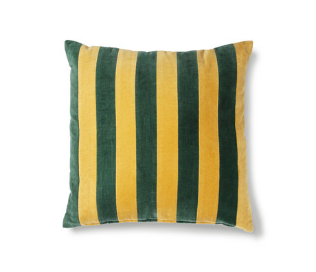 HK-living Kissen Gestreifter grüner senfgelber Baumwollsamt 50x50cm