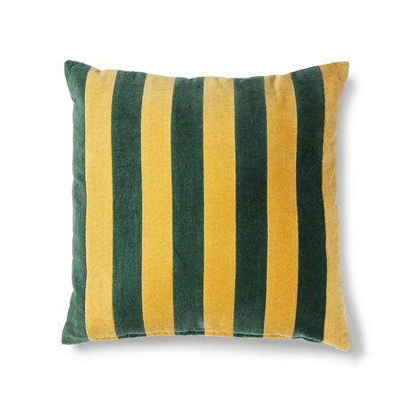 HK-living Cushion Striped green mustard yellow cotton velvet 50x50cm