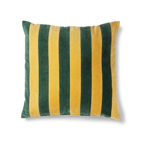 HK-living Sierkussen Striped groen mosterd geel katoen velvet 50x50cm
