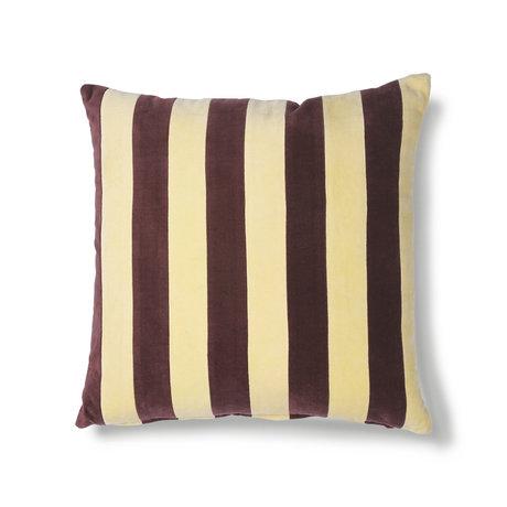 HK-living Sierkussen Striped geel paars katoen velvet 50x50cm
