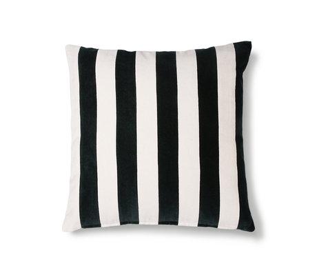 HK-living Coussin velours de coton noir et blanc rayé 50x50cm