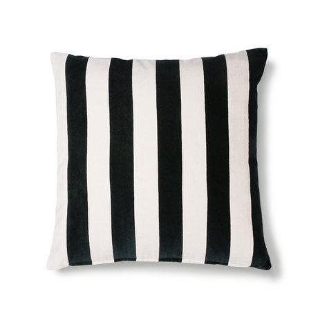 HK-living Kissen Gestreifter schwarz-weißer Baumwollsamt 50x50cm