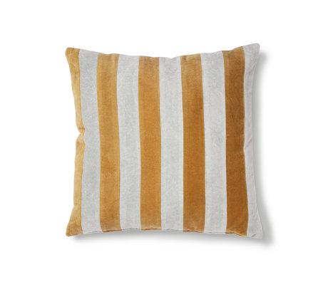 HK-living Cushion Striped gray gold cotton velvet 50x50cm