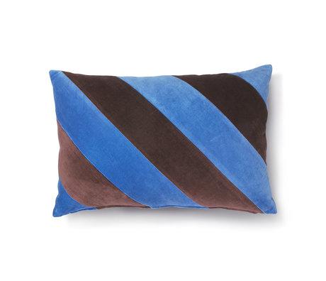 HK-living Sierkussen Striped blauw paars katoen velvet 40x60cm