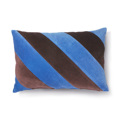 HK-living Cushion Striped blue purple cotton velvet 40x60cm
