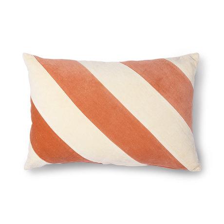HK-living Cushion Striped peach orange cream white cotton velvet 40x60cm