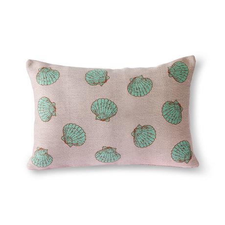 HK-living Sierkussen Greek shells roze mint groen textiel 35x50cm
