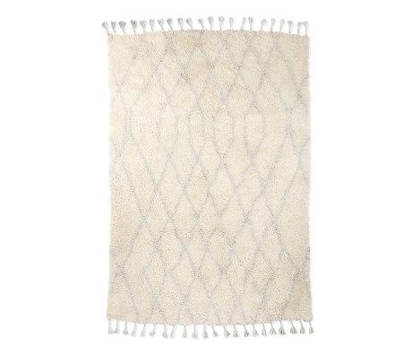 HK-living Vloerkleed Berber Zigzag wit lichtblauw wol 180x280cm