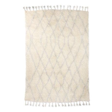 HK-living Rug Berber Zigzag white light blue wool 180x280cm