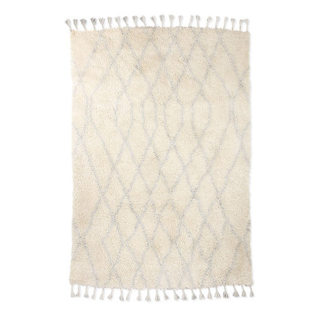 HK-living Teppich Berber Zickzack weiß hellblau Wolle 180x280cm