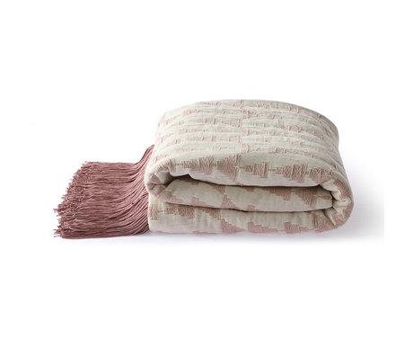HK-living Plaid Jacquard Weave nude pink weiße Baumwolle 130x170cm