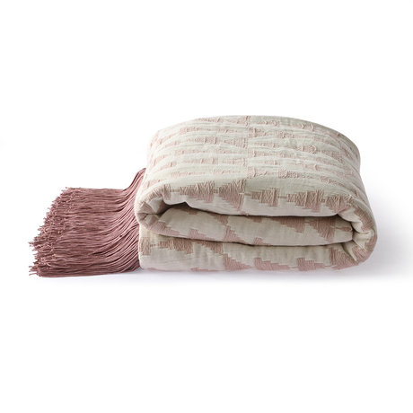 HK-living Plaid Jacquard Weave nude pink white cotton 130x170cm